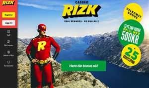Rizk Casino norske spilleautomater