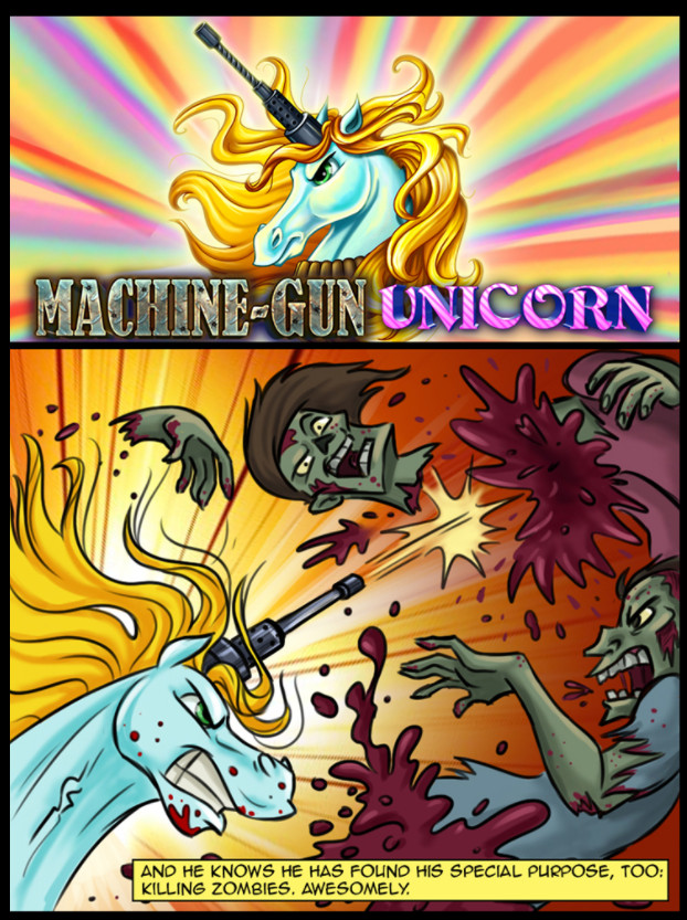 Machine-gun unicorn tegneserie